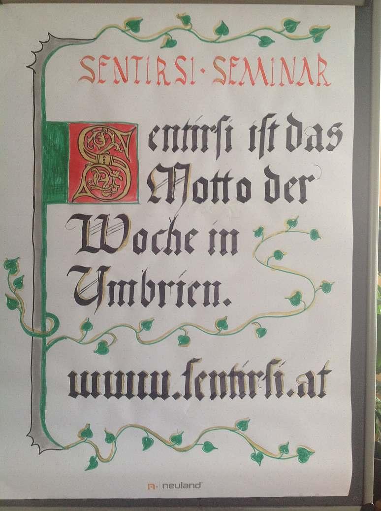 Flipchart im Stil einer mittelalterlichen Buchseite